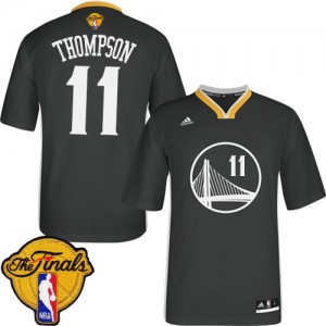 Maillot NBA Noir Klay Thompson #11 Golden State Warriors Alternate 2015 The Finals Patch Authentic Femme Adidas