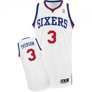 Maillot Authentic Philadelphia 76ers NBA Home Blanc - #3 Allen Iverson - Homme