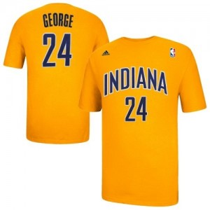Indiana Pacers Paul George #24 Game Time T-Shirts d'équipe de NBA - Or pour Homme