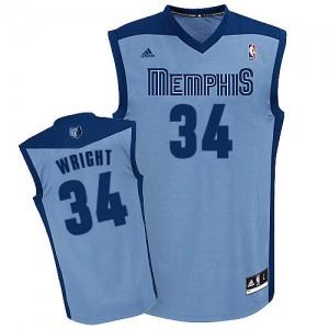 Maillot NBA Bleu clair Brandan Wright #34 Memphis Grizzlies Alternate Swingman Homme Adidas
