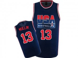 Maillots de basket Authentic Team USA NBA 2012 Olympic Retro Bleu marin - #13 Chris Mullin - Homme