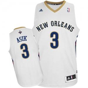 New Orleans Pelicans Omer Asik #3 Home Swingman Maillot d'équipe de NBA - Blanc pour Homme