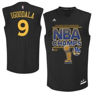 Maillot NBA Noir Andre Iguodala #9 Golden State Warriors 2015 NBA Finals Champions Authentic Homme Adidas
