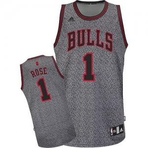 Maillot Authentic Chicago Bulls NBA Static Fashion Gris - #1 Derrick Rose - Femme