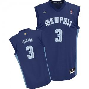 Maillot NBA Memphis Grizzlies #3 Allen Iverson Bleu marin Adidas Swingman Road - Homme