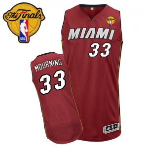 Maillot NBA Rouge Alonzo Mourning #33 Miami Heat Alternate Finals Patch Swingman Homme Adidas