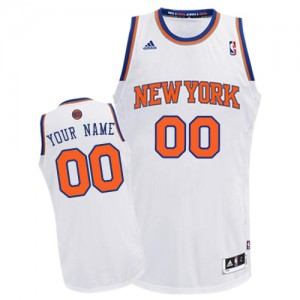 Maillot NBA New York Knicks Personnalisé Swingman Blanc Adidas Home - Homme
