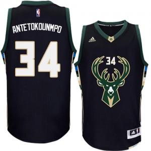 Maillot Adidas Noir Alternate Swingman Milwaukee Bucks - Giannis Antetokounmpo #34 - Homme