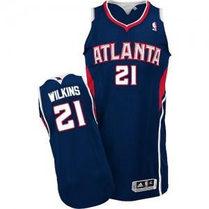 Atlanta Hawks Dominique Wilkins #21 Road Authentic Maillot d'équipe de NBA - Bleu marin pour Homme