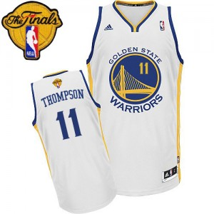 Maillot NBA Swingman Klay Thompson #11 Golden State Warriors Home 2015 The Finals Patch Blanc - Homme