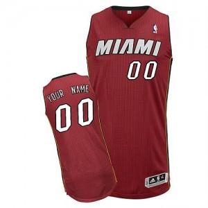 Maillot NBA Rouge Authentic Personnalisé Miami Heat Alternate Homme Adidas