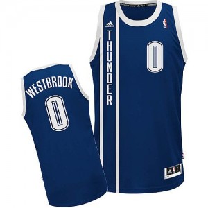 Maillot NBA Oklahoma City Thunder #0 Russell Westbrook Bleu marin Adidas Swingman Alternate - Homme