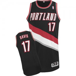 Maillot NBA Noir Ed Davis #17 Portland Trail Blazers Road Authentic Homme Adidas