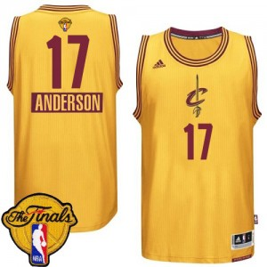 Cleveland Cavaliers Anderson Varejao #17 2014-15 Christmas Day 2015 The Finals Patch Authentic Maillot d'équipe de NBA - Or pour Homme