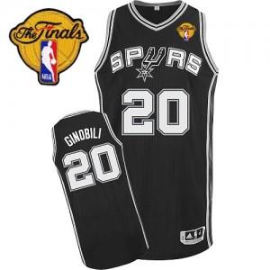 Maillot Authentic San Antonio Spurs NBA Road Finals Patch Noir - #20 Manu Ginobili - Homme