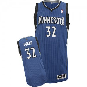Maillot Adidas Slate Blue Road Authentic Minnesota Timberwolves - Karl-Anthony Towns #32 - Homme