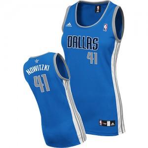 Dallas Mavericks #41 Adidas Road Bleu royal Swingman Maillot d'équipe de NBA pas cher - Dirk Nowitzki pour Femme