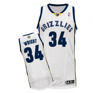 Maillot NBA Blanc Brandan Wright #34 Memphis Grizzlies Home Authentic Homme Adidas