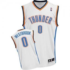 Oklahoma City Thunder #0 Adidas Home Blanc Authentic Maillot d'équipe de NBA Vente - Russell Westbrook pour Enfants