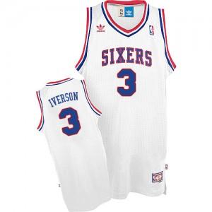 Philadelphia 76ers Allen Iverson #3 Throwack Swingman Maillot d'équipe de NBA - Blanc pour Homme