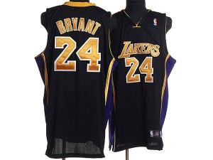 Maillot NBA Authentic Kobe Bryant #24 Los Angeles Lakers Champions Patch Noir / Or - Homme