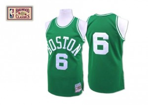 Maillot NBA Vert Bill Russell #6 Boston Celtics Throwback Authentic Homme Mitchell and Ness