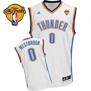 Maillot NBA Oklahoma City Thunder #0 Russell Westbrook Blanc Adidas Swingman Home Finals Patch - Homme