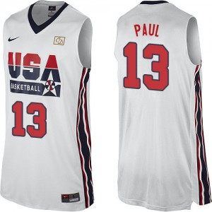 Maillot Nike Blanc 2012 Olympic Retro Authentic Team USA - Chris Paul #13 - Homme