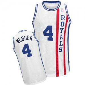 Sacramento Kings #4 Adidas Throwback Blanc Authentic Maillot d'équipe de NBA 100% authentique - Chris Webber pour Homme