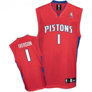 Maillot NBA Authentic Allen Iverson #1 Detroit Pistons Rouge - Homme
