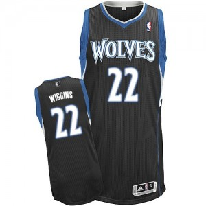 Maillot NBA Minnesota Timberwolves #22 Andrew Wiggins Noir Adidas Authentic Alternate - Homme