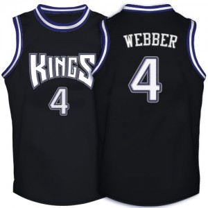 Maillot Adidas Noir Throwback Authentic Sacramento Kings - Chris Webber #4 - Homme