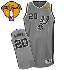 Maillot NBA San Antonio Spurs #20 Manu Ginobili Gris argenté Adidas Authentic Alternate Finals Patch - Homme