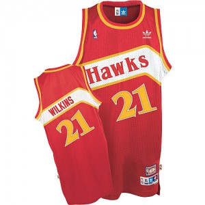 Atlanta Hawks Dominique Wilkins #21 Throwback Authentic Maillot d'équipe de NBA - Rouge pour Homme