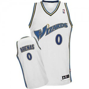Maillot NBA Washington Wizards #0 Gilbert Arenas Blanc Adidas Authentic - Homme