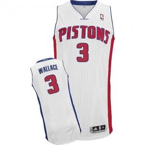Detroit Pistons #3 Adidas Home Blanc Authentic Maillot d'équipe de NBA en ligne pas chers - Ben Wallace pour Homme