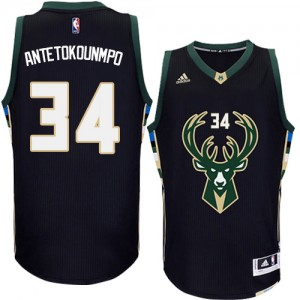 Maillot Authentic Milwaukee Bucks NBA Alternate Noir - #34 Giannis Antetokounmpo - Homme