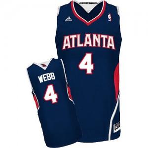 Maillot NBA Atlanta Hawks #4 Spud Webb Bleu marin Adidas Swingman Road - Homme