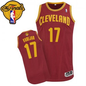 Maillot NBA Authentic Anderson Varejao #17 Cleveland Cavaliers Road 2015 The Finals Patch Vin Rouge - Homme