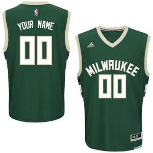 Maillot NBA Milwaukee Bucks Personnalisé Swingman Vert Adidas Road - Enfants