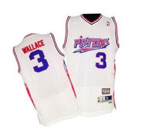 Detroit Pistons #3 Adidas Throwback Blanc Authentic Maillot d'équipe de NBA pour pas cher - Ben Wallace pour Homme