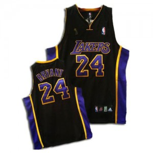 Maillot NBA Los Angeles Lakers #24 Kobe Bryant Noir / Violet Adidas Authentic Champions Patch - Homme
