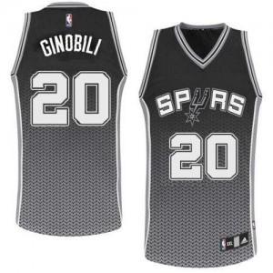 Maillot Authentic San Antonio Spurs NBA Resonate Fashion Noir - #20 Manu Ginobili - Homme