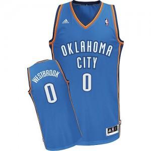 Maillot NBA Oklahoma City Thunder #0 Russell Westbrook Bleu royal Adidas Swingman Road - Homme