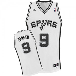 Maillot NBA Blanc Tony Parker #9 San Antonio Spurs Home Swingman Homme Adidas
