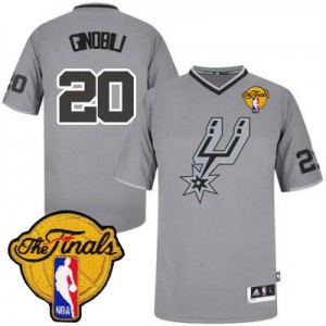 Maillot Adidas Gris 2013 Christmas Day Finals Patch Authentic San Antonio Spurs - Manu Ginobili #20 - Homme