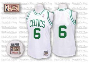 Maillot NBA Blanc Bill Russell #6 Boston Celtics Throwback Authentic Homme Mitchell and Ness