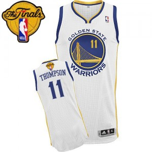 Maillot NBA Golden State Warriors #11 Klay Thompson Blanc Adidas Authentic Home 2015 The Finals Patch - Femme