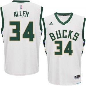 Milwaukee Bucks Ray Allen #34 Home Swingman Maillot d'équipe de NBA - Blanc pour Homme