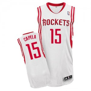 Maillot NBA Houston Rockets #15 Clint Capela Blanc Adidas Authentic Home - Homme